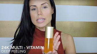Melissa Pereira holding the OROGOLD Multi-Vitamin Deep Peeling